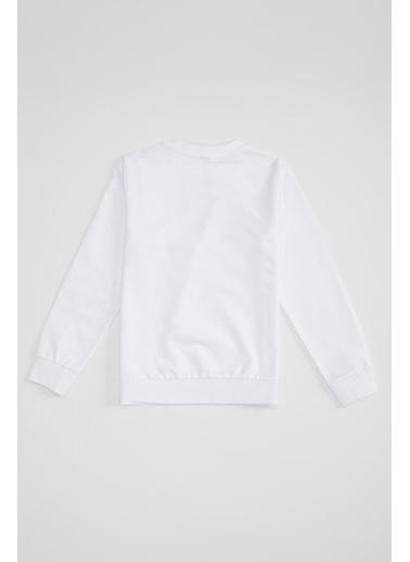 Defacto –Fit Erkek Çocuk Baskılı Sweatshirt Beyaz